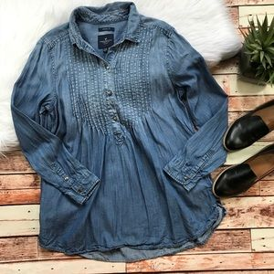American eagle denim chambray tunic blouse